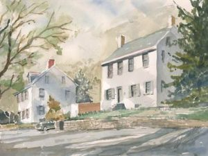 Enoch Rittenhouse Home (208 Lincoln Drive) Watercolor by Leon Clemmer